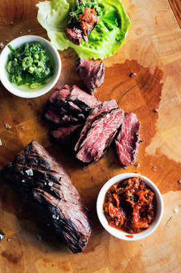 See  David Chang's recipe for Marinated Hanger Steak Ssäm   and  Roasted Onions